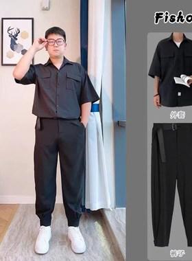 抖音楼栏服饰C3070【两件套】夏季冰丝口袋短袖衬衣男+腰带九分裤