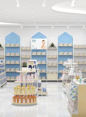 母婴店货架展示柜婴儿用品奶粉展示架中岛架孕婴衣服靠墙展示架