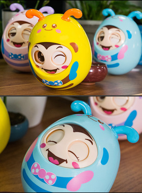 母婴玩具儿童早教点头软耳眨眼婴幼儿卡通手抓球不倒翁。