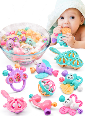 婴儿玩具0-3-6-12个月女孩手摇铃新生儿男宝宝母婴硅胶0-1岁