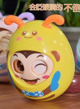 婴幼儿儿童教卡通玩具早点头软手不倒翁母婴耳抓球眨眼
