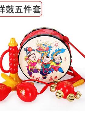 一摇铃瑶小孩子三个贝玲玩型教鼓县岁个月婴玩具安抚婴儿母婴儿。