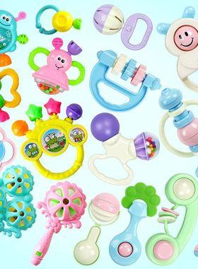 铃咬胶母婴视力波浪鼓儿童婴儿器磨牙摇。婴幼儿趣味玩具组合摇铃