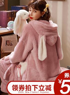 睡衣女加厚冬季珊瑚绒加绒秋冬新款可爱家居服冬天女士法兰绒保暖