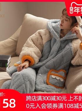 睡衣女冬珊瑚绒家居服秋冬季加厚加绒女士可爱法兰绒夹棉保暖套装