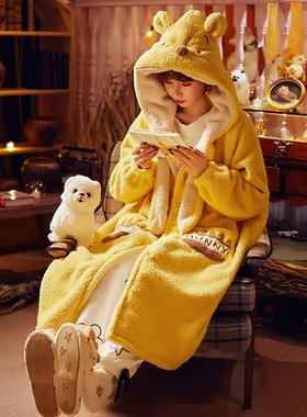 迪士尼情侣睡袍女冬季加绒加厚珊瑚绒秋冬款睡衣长款浴袍家居服男
