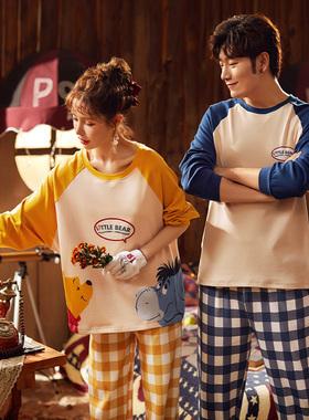 迪士尼联名情侣睡衣女春秋薄款长袖两件套装甜美可爱外穿家居服男