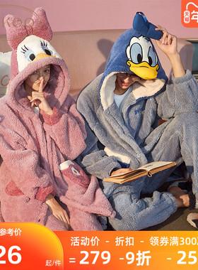 迪士尼情侣睡衣秋冬珊瑚绒睡衣家居服可爱睡衣女冬睡衣男居家服