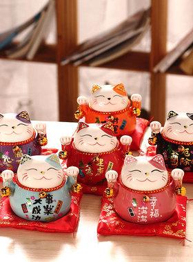 招财猫小摆件陶瓷创意礼品家居装饰日本存钱罐客厅家用开业发财猫