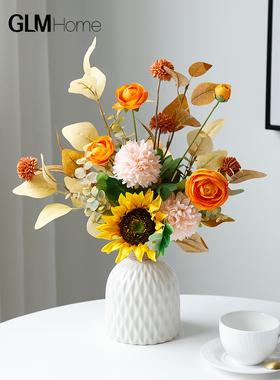 2021新款高档仿真花假花摆设客厅餐桌花摆花家居插花装饰花艺摆件