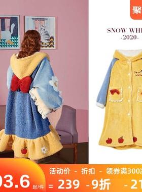白雪公主睡衣女秋冬珊瑚绒睡衣女长款睡袍迪士尼睡裙女冬季家居服