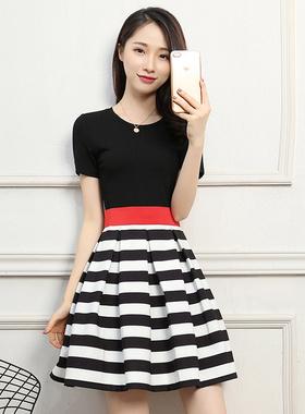 2021新款条纹连衣裙夏修身时尚气质蓬蓬裙短款拼接显瘦收腰A字裙