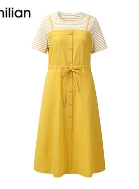 艾米恋高腰条纹连衣裙女夏黄色拼接法式收腰假两件短袖显瘦a字裙