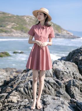 2021夏季新款法式少女裙收腰显瘦条纹气质娃娃领小清新a字连衣裙