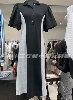 OPENHO欧21夏polo领撞色竖条纹泡泡袖收腰过膝a字显瘦中长连衣裙
