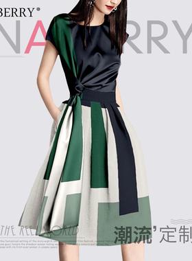 小清新甜美连衣裙夏2021年新款设计感收腰显瘦时尚拼接条纹a字裙