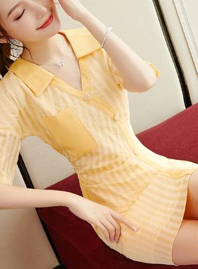 气质雪纺裙2021夏季新款女装a字中袖洋气减龄收腰条纹黄色连衣裙