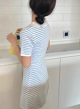 团喜元气少女夏日翻领v领A字裙收腰显瘦针织蓝白条纹连衣裙女夏
