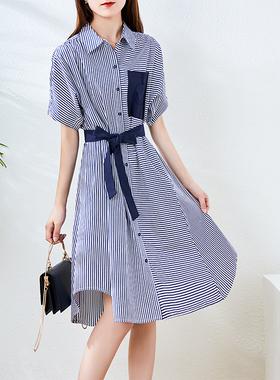 连衣裙夏薄款2021新款法式条纹系带衬衫裙气质休闲收腰显瘦A字裙