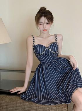 重工连衣裙女夏季法式条纹镶钻吊带裙设计感收腰显瘦蓝色a字裙子