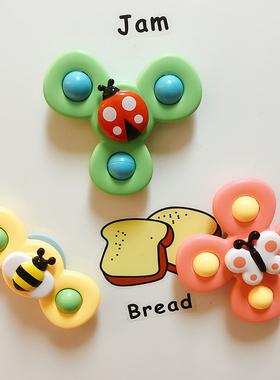 会转动的花朵吸盘 宝宝趣味餐桌椅吸盘转转乐 婴幼儿指尖陀螺玩具