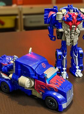 变形玩具模型汽车金刚机器人生日礼物儿童男孩一步变身恐龙模型车