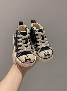 DIY婴儿幼软底学步鞋宝宝帆布鞋男童女侧拉链童鞋冬加绒儿童棉鞋
