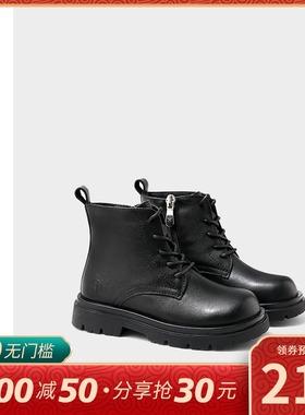 ELLE kids女童鞋儿童马丁靴真皮加绒2020冬男童短靴秋冬季棉靴子