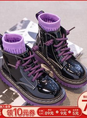 女童鞋真皮马丁靴2020年秋冬款新款儿童棉靴子加绒冬季英伦风短靴