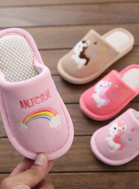 幼儿园拖鞋好质量防滑包头亚麻男女小童儿童鞋秋冬季亲子居家鞋