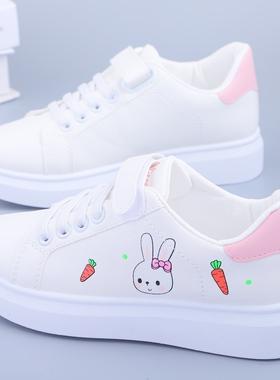 女童鞋春秋透气平底小白鞋2021新款小学生魔术贴儿童运动板鞋单鞋