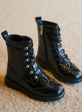 女童黑色短靴2021新款秋季靴子春秋童鞋儿童皮靴秋冬加绒马丁靴女