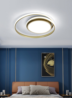主卧室灯轻奢led吸顶灯创意金色个性房间灯书房灯圆形北欧网红灯
