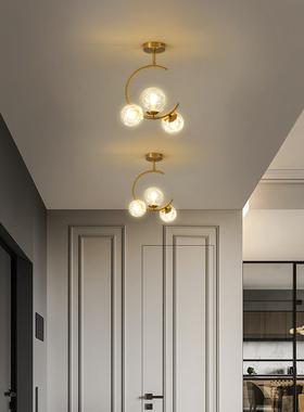 卧室玄关吸顶灯红灯装饰创意网轻灯具走廊过道玻璃个性ins奢北欧