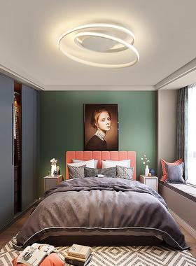 led灯具个性简约北欧灯浪漫网饰创意房间红灯温馨现代卧室吸顶灯
