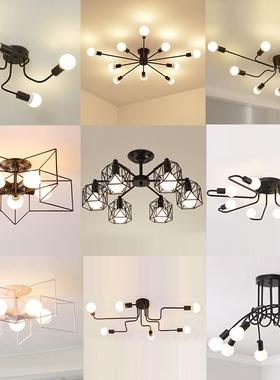 北欧房间吸顶灯创意多头客厅个性办公室卧室网红灯复古铁艺蜘蛛灯
