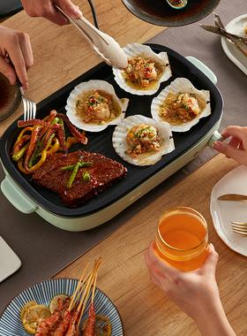 小熊牛排煎锅家用多功能不粘平底锅小插电煎蛋煎牛排专用锅电煎锅