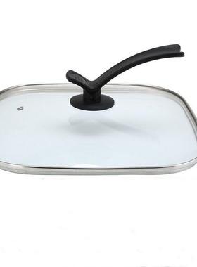 锅盖牛排锅四方盖多功能方形火锅煎锅锅盖电热30cm钢化玻璃电家用