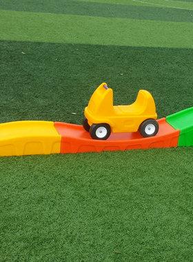 三段式滑车滑行车道滑滑梯儿童玩具三段式轨道滑车童车