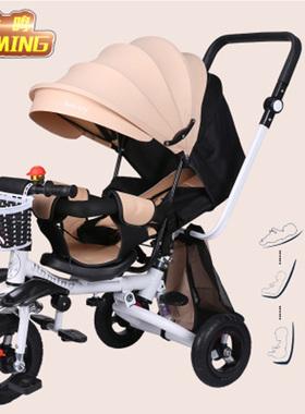 金鸣轻便折叠儿童三轮车可坐躺1-3岁宝宝手推车脚踏减震婴幼童车