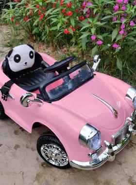 减100元【发顺丰】公主粉儿童电动车可坐人带遥控四轮汽车女童车