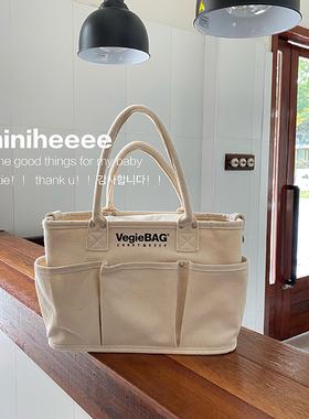 日本vegiebag同款潮妈咪包母婴大容量帆布托特包多功能单肩手提包
