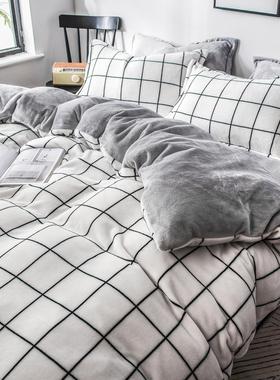 珊瑚绒四件套冬季双面加绒三件套床单法莱被套牛奶法兰绒床上用品