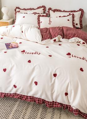 公主风床上四件套ins北欧床单被套少女心床笠磨毛三件套床上用品