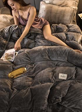 珊瑚绒四件套床上用品加厚双面冬季牛奶法兰法莱绒被套床单三件套