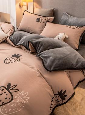 珊瑚绒四件套法兰绒纯棉加绒ab面单面被套冬季床上用品牛奶绒床单