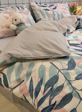 北欧风ins纯棉床上用品四件套100全棉简约现代床单三件套被套床笠