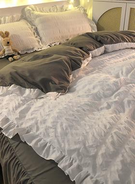 水洗棉床裙四件套夏季床品公主风床单被套宿舍三件套床上用品春秋