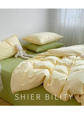 ins少女混搭床上四件套北欧风水洗棉被套床单宿舍三件套床上用品4