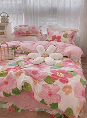 ins风手绘涂鸦小清新田园四件套全棉纯棉被套床单床笠款床上用品